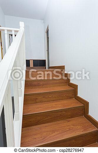 Hecho, escalera, de madera, laminate, moderno, madera, casa,... foto ...