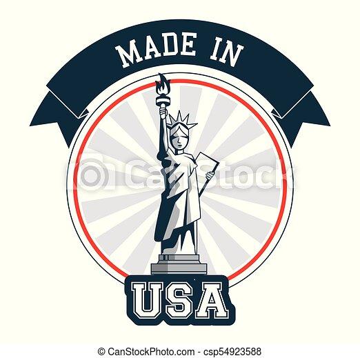Hecho en la Estatua de la Libertad de Diseño - csp54923588