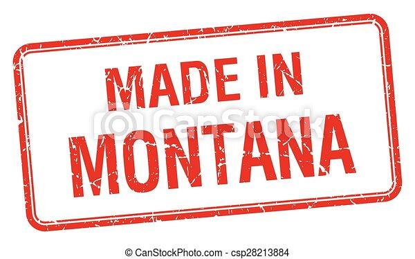Hecho en Montana en la Plaza Roja sello aislado - csp28213884
