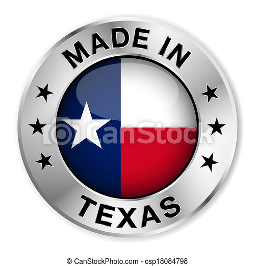 Hecho en placa de plata de Texas - csp18084798