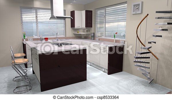 Hecho, moderno, diseño, utilizar, cocina, 3d. Hecho, moderno, 3d ...