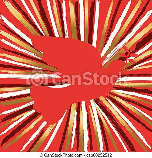 Pájaro de paloma roja hecho de pincel de mano dorada - csp60252512