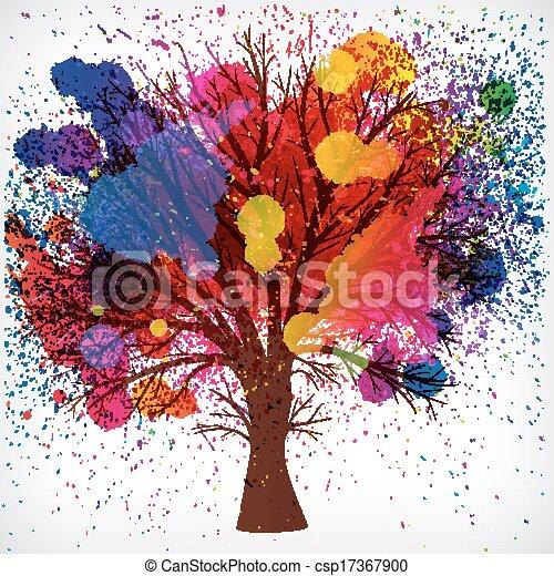 Trasfondo abstracto, árbol con ramas hechas de gotas de acuarela.