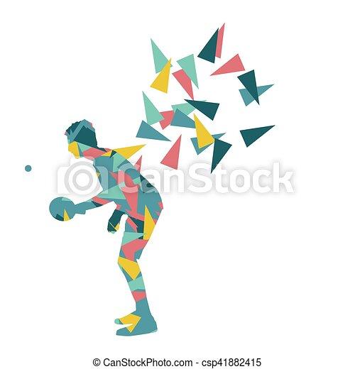 Jugador de ping pong vector abstracto ilustración hecha con fragmentos poligonales aislados - csp41882415