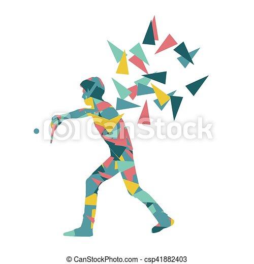 Jugador de ping pong vector abstracto ilustración hecha con fragmentos poligonales aislados - csp41882403