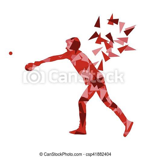 Jugador de ping pong vector abstracto ilustración hecha con fragmentos poligonales aislados - csp41882404