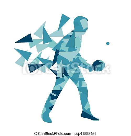 Jugador de ping pong vector abstracto ilustración hecha con fragmentos poligonales aislados - csp41882456