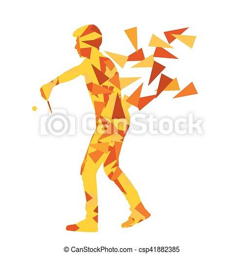 Jugador de ping pong vector abstracto ilustración hecha con fragmentos poligonales aislados - csp41882385