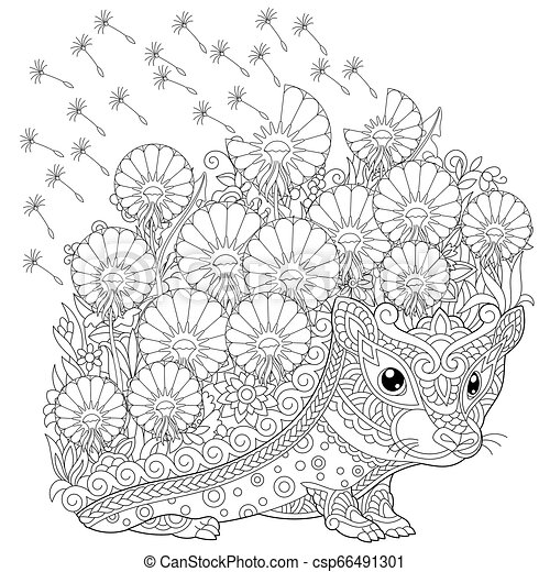 - Hedgehog And Spring Flowers Coloring Page. Coloring Book Page. Anti Stress Colouring  Picture With Hedgehog And Spring Flowers CanStock