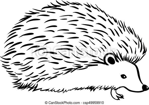 Line Drawing Hedgehog : Hedgehog stylization icon logo line sketch vector