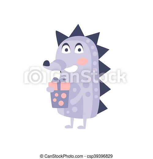 Hedgehog With Party Attributes Girly Stylized Funky Sticker - csp39396829