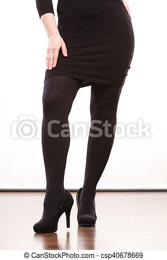 Schwarze Strumpfhosen High Heels