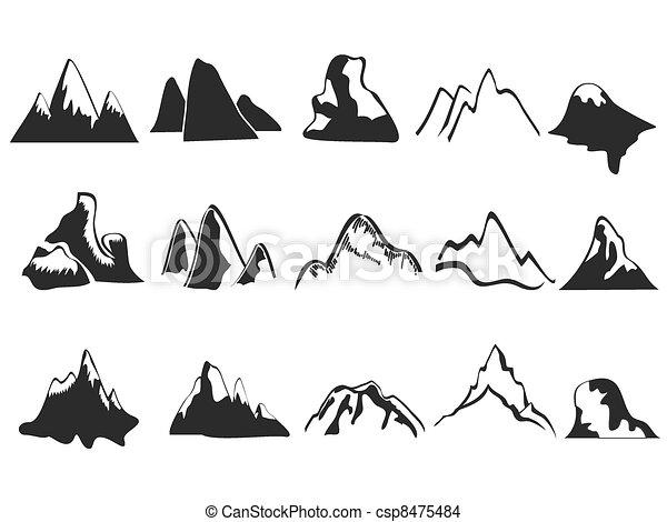 hegy, állhatatos, ikonok - csp8475484