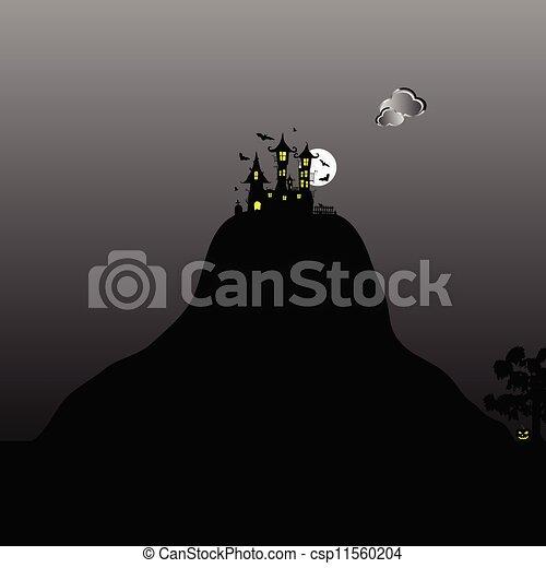hegy, bástya, mindenszentek napjának előestéje, nap, ábra - csp11560204