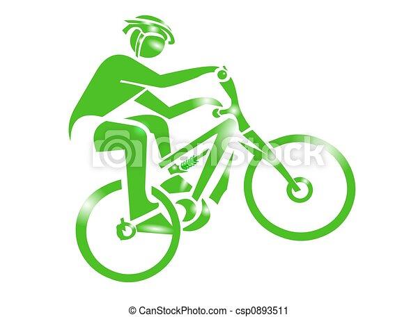 hegy bicikli, sport, ikon - csp0893511