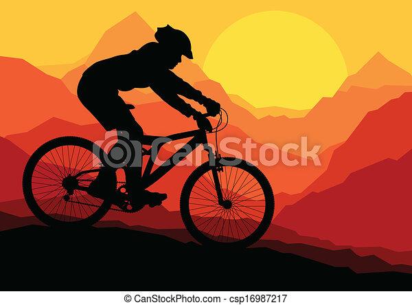hegy, bicikli, természet, bicikli, vad, lovasok - csp16987217