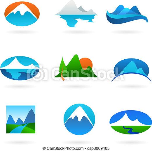 hegy, gyűjtés, kapcsolódó, ikonok - csp3069405