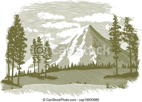 hegy tó, fametszet, színhely - csp19930986