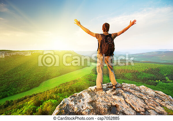 hegy tető, ember - csp7052885