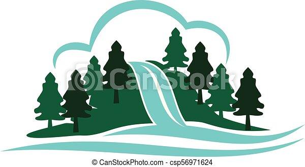 hegy, vízesés - csp56971624