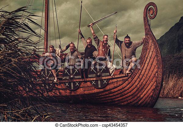 hegyek, csoport, tenger, vikings, háttér, úszó, drakkar - csp43454357