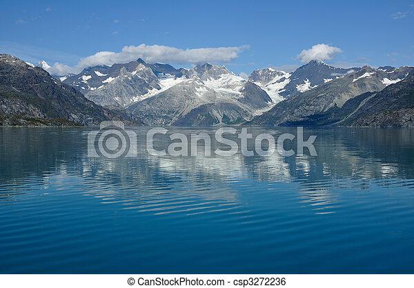 hegyek, gleccser, nemzeti, alaszka, öböl, liget - csp3272236