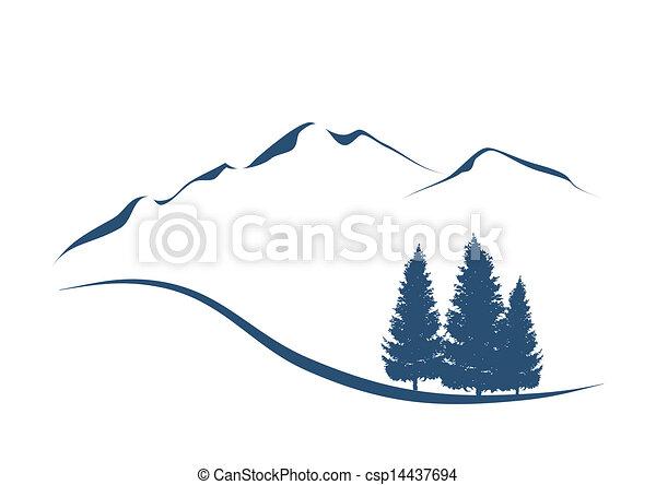 hegyek, kiállítás, ábra, stilizált, erdei fenyők, táj, alpesi növény - csp14437694