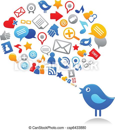 Blauer Vogel mit sozialen Medien-Ikonen - csp6433880