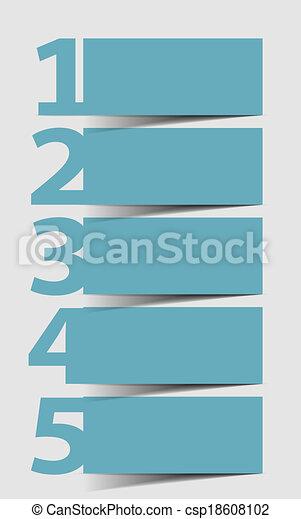 Eins zwei drei vier fünf - Vektor Fortschritt Icons für 5 Schritte - csp18608102