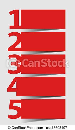 Eins zwei drei vier fünf - Vektor Fortschritt Icons für 5 Schritte - csp18608107