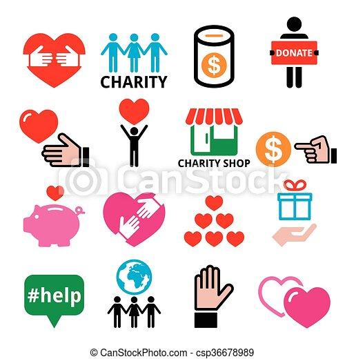 Wohltatigkeit Anderen Ikonen Helfen Vector Symbole Der Solidaritat Unter Den Menschen Wohltatigkeitsunterstutzung Canstock