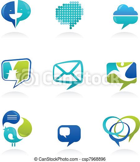 Sammlung von sozialen Medien und Sprachblasen Symbole - csp7968896