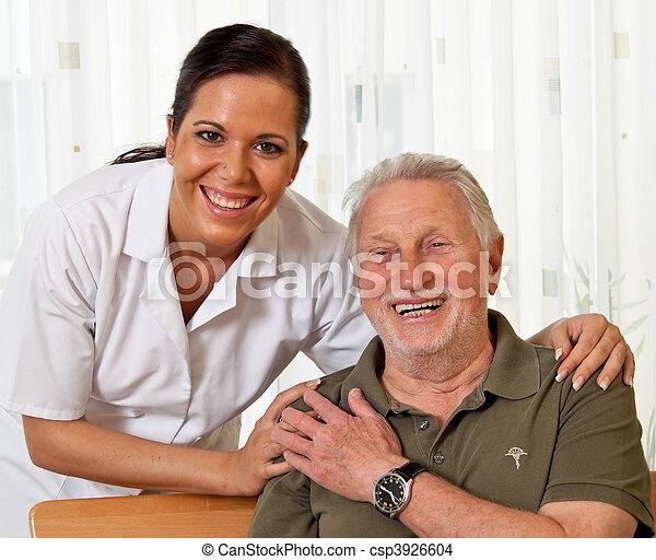 heime, krankenpflege, senioren, krankenschwester, antikisiert, sorgfalt - csp3926604