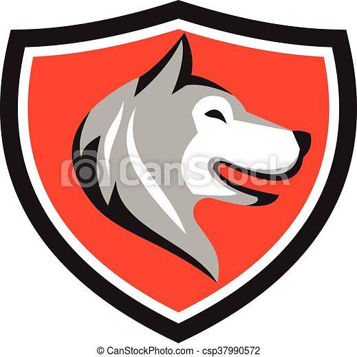 heiser, kopf, schutzschirm, retro, hund - csp37990572