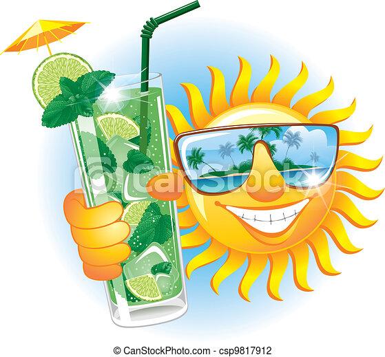Eine fröhliche Sonne mit Cocktail - csp9817912