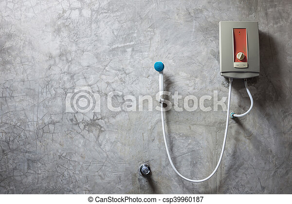 heizung, badezimmer, wand, grau, zement, wasser