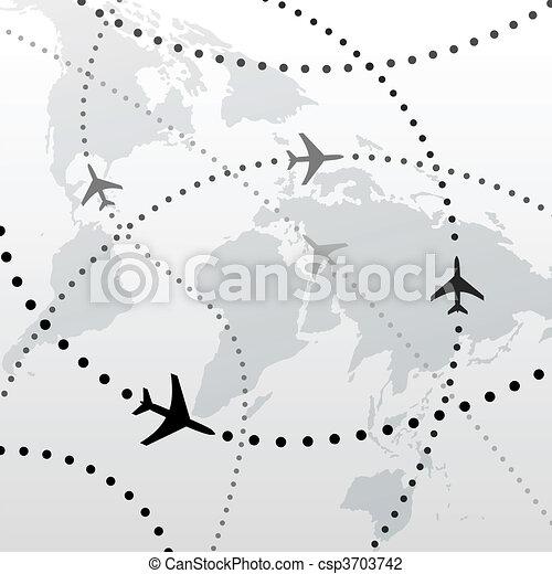 hejno, nakreslit plán, pohybovat se, konexe, společnost, letadlo - csp3703742