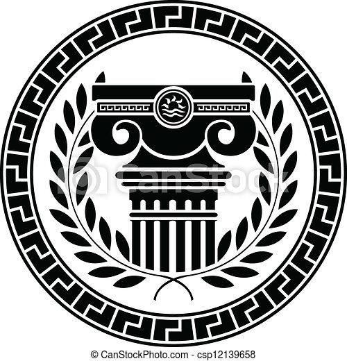 Columna helénica y corona de laurel - csp12139658