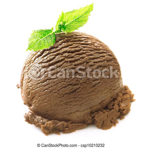 Bola de helado de chocolate con menta - csp10210232