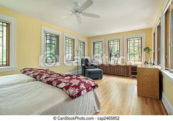 Helder, meester, gele, slaapkamer. Muur, gele, vensters ...