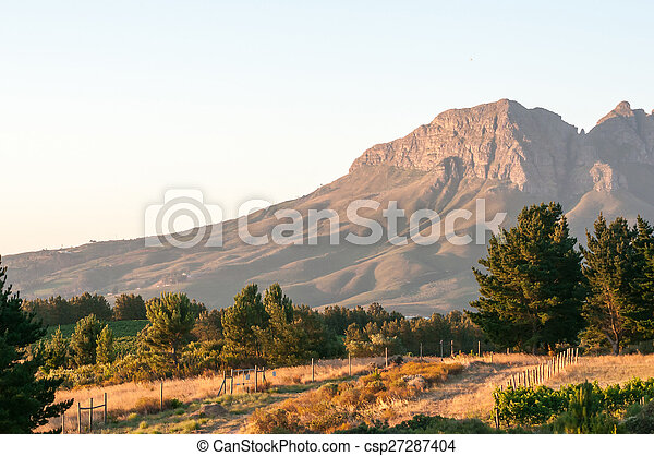 Helderberg in the setting sun - csp27287404