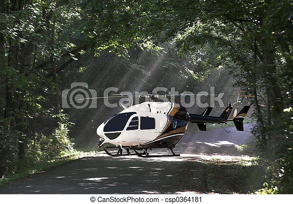 helecopter in woods - csp0364181