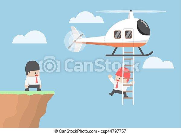 Empresario cruzando el acantilado en helicóptero - csp44797757