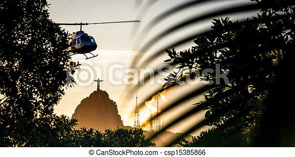 Helicóptero en vuelo - csp15385866