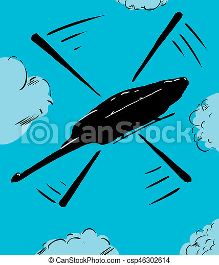 Helicopter In Flight Cartoon Cartoon Of Low Angle View On A Helicopter Flying In The Sky