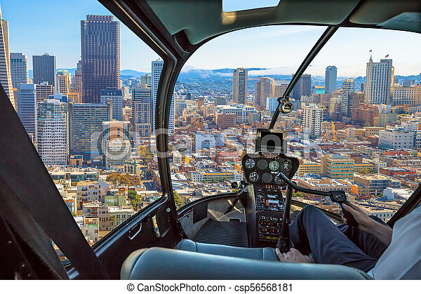 Helicopter in San Francisco downtown - csp56568181
