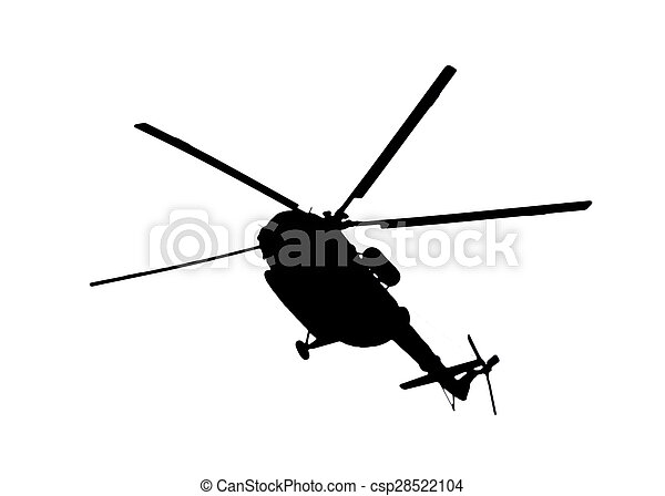 helicopter silhouette on a white background - csp28522104