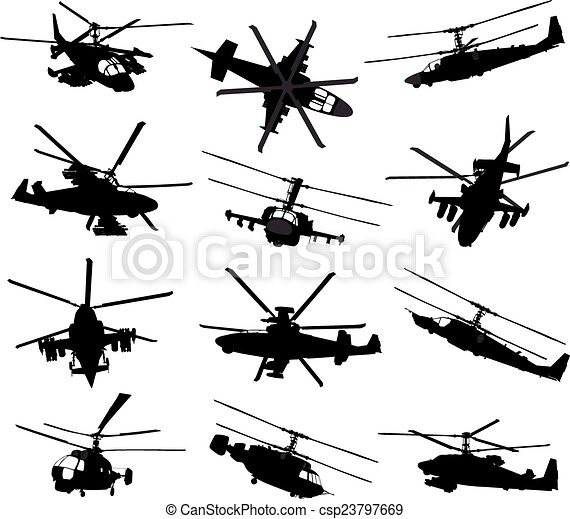 Helicopter silhouettes set - csp23797669