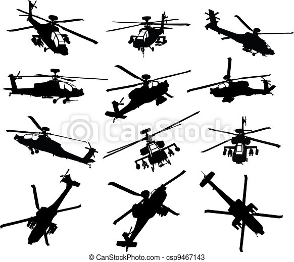 Helicopter silhouettes set - csp9467143