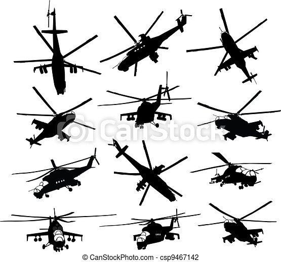 Helicopter silhouettes set - csp9467142
